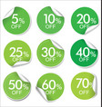 collection of green discount offer price labels vector image vector image