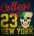 college skull t shirt graphic design vector image vector image