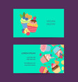 cute cartoon cupcakes business card vector image vector image
