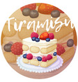 delicious triple berry tiramisu cake icon on vector image vector image