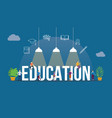 education concept with people and big text word vector image vector image
