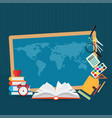 education design background with world map vector image vector image