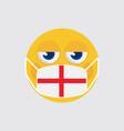 emoji wearing a medical mask england flag vector image vector image