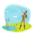 fisherman fishing and fish catch at lake vector image vector image