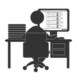 Flat computer icon with social network website vector image