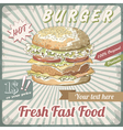 Fresh Fast Food Burger vector image vector image