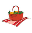 fruits in red basket on white background vector image vector image