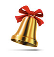 gold christmas bell with red ribbon bow vector image vector image
