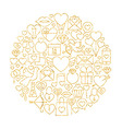 Gold Happy Valentine Day Holiday Line Icons Set vector image vector image