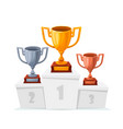 gold silver bronze trophy cups winner goblet on vector image vector image