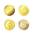 golden coins set different gold coins glossy vector image vector image