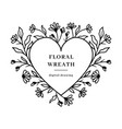 heart floral frame wildflowers floral wreath vector image vector image