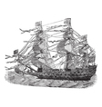 HMS Sovereign vintage engraved vector image vector image