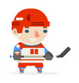 hockey player stick cartoon flat design vector image vector image