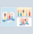 human rights together community hands cards vector image vector image