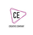 initial letter ce triangle design logo concept vector image vector image