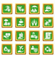 insurance icons set green square vector image vector image