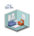 isometric floor plan of living room interior vector image vector image