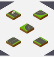isometric way set of road without strip upwards vector image vector image