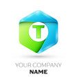 letter t logo symbol in colorful hexagonal vector image vector image