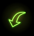 neon glowing arrow pointer on dark background vector image vector image