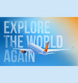 passenger airplane taking off at sunset vector image vector image