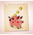 Piggy bank note paper cartoon sketch vector image