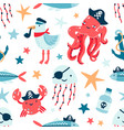 pirate marine animals flat seamless pattern vector image vector image