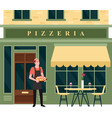 pizzeria city street facade small food business vector image vector image