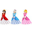 Queens in different costumes vector image vector image