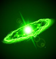 Ring lightening in green hues on dark background vector image vector image