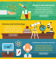 science tech banner horizontal set flat style vector image vector image