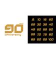 set trendy anniversary logotype modern vector image vector image