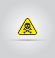 skull and crossed bones caution triangular sign vector image