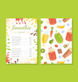 smoothie menu template healthy vitamin drinks vector image vector image