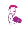 strong spartan athlete with dumbbell isolated vector image vector image