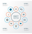 trade icons colored line set with network comment vector image vector image