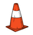 traffic cone in hand drawn vector image