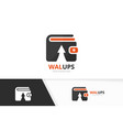 wallet and arrow up logo combination purse vector image vector image