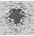 white grey brick break wall hole destruction vector image vector image