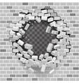 white grey brick break wall hole destruction vector image