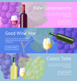 wine combinations and classic taste promo banners vector image vector image