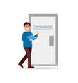 young man walking at doctor s office door of vector image vector image