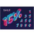 15 percent sale 0 1 2 3 4 5 6 7 8 9 isometric vector image vector image