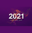 2021 white inscription on purple background of vector image