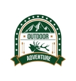 Adventure club badge design with deer and mountain vector image vector image