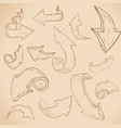 arrows on beige background hand drawn sketch vector image vector image