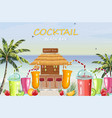 beach bar cocktail drinks fresh juicy smothies vector image vector image