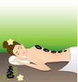 Beautiful woman lying a therapy with hot stones vector image vector image