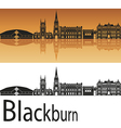 Blackburn skyline in orange background vector image vector image